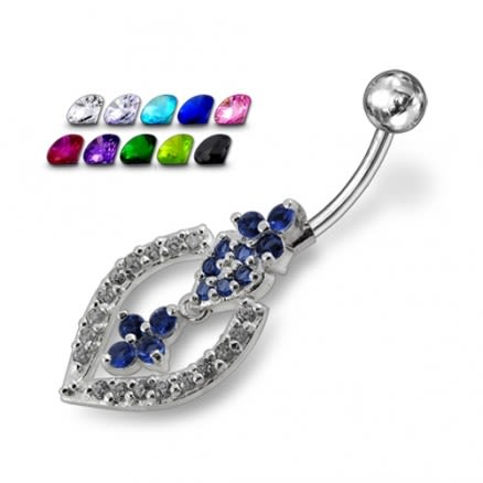Blue And White Jeweled Fancy Silver Dangling With SS Bar Navel Belly Ring