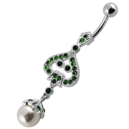 925 Sterling Silver Jeweled Fancy pearl Dangling With Curved SS Bar Navel Belly Ring