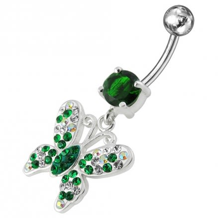 14G Silver mix Jeweled Butterfly Dangling Belly Ring With SS Curved Bar