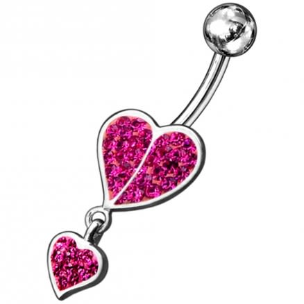Red Jeweled Fancy Loop Heart Silver Dangling Belly Ring With SS Banana Bar