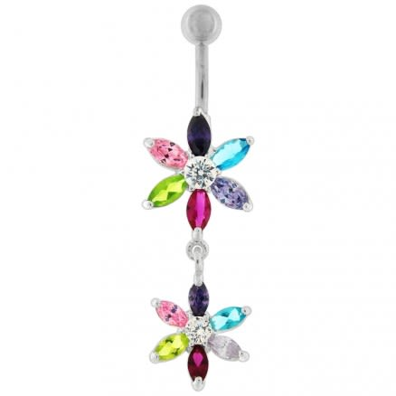 Silver Jeweled Flower Dangling SS Curved Belly Ring