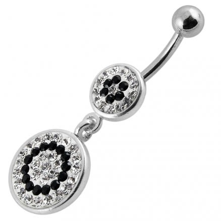 Red Jeweled Fancy Silver Pendulum SS Bar Curved Belly Ring