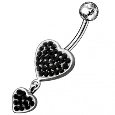Green Jeweled Two Heart Fancy Dangling 316L SS Navel Ring