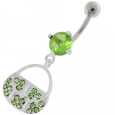 14G Silver Jeweled Fancy Dangling Belly Ring