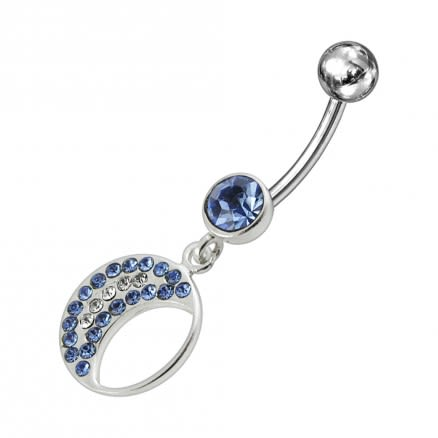 Jeweled Fancy Half MOON Silver Dangling Curved Bar Navel Ring