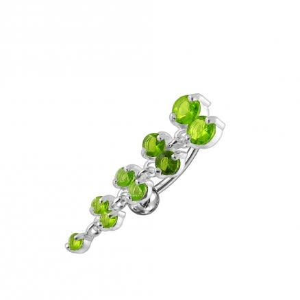 Jeweled Fancy Reverse Silver Dangling Curved Bar Belly Ring