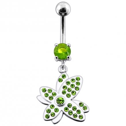 Multi Jeweled Fancy Flower Silver Dangling SS Banana Bar Navel Ring