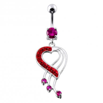 Fancy Jeweled Heart Dangling Navel Body Jewelry Ring