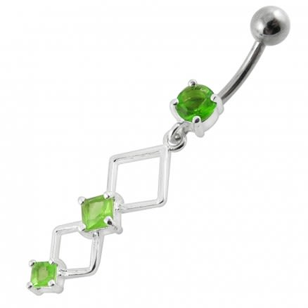 Fancy Jeweled Dangling Curved Bar Navel  Ring Body jewelry
