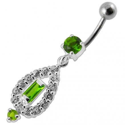 Fancy Vinatge Royal Design Jeweled Dangling Curved Belly Ring