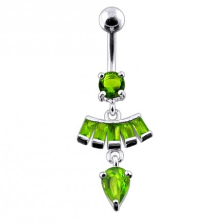 Fancy Pear Shape Jeweled Dangling SS Bar Belly Ring