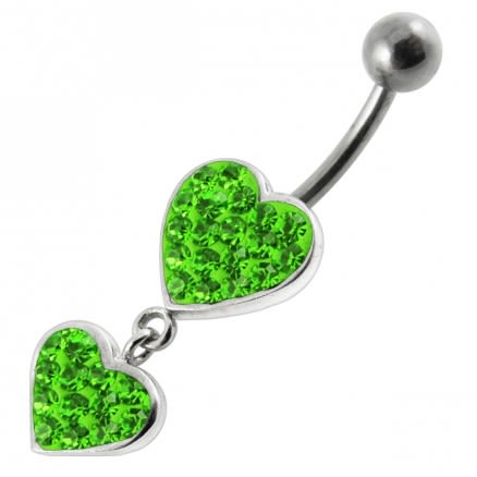 Fancy Double Red Jeweled Heart Dangling SS Bar Navel Ring