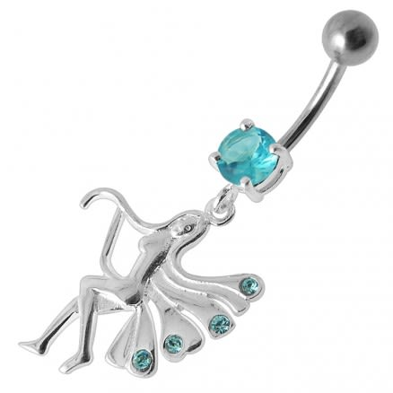 Fancy Jeweled Angle Dangling Banana Bar Belly Ring