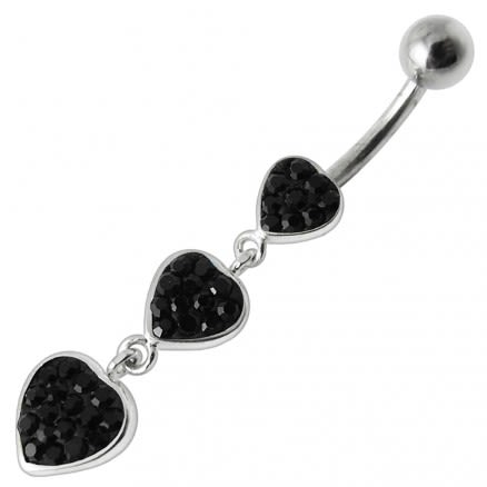 Fancy Multi Jeweled Heart Dangling Navel Ring