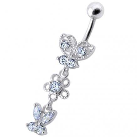 Fancy Design Multi Jeweled Dangling SS Bar Navel Ring