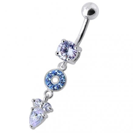 "Fancy Multi Stone Jeweled ""O"" Pear"" Dangling SS Bar Navel Body Jewelry Ring"