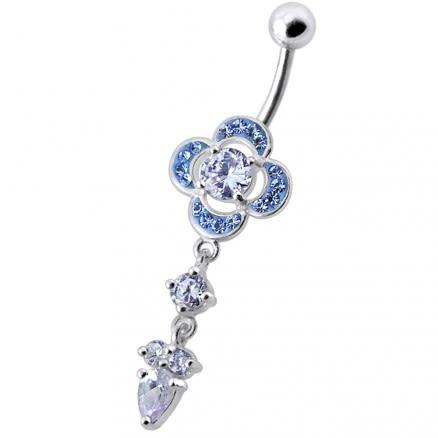 Fancy Jeweled Flower Silver Dangling Banana Belly Body Jewelry Ring