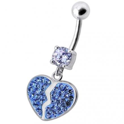 Broken Heart Dangling Sterling Silver Belly Ring