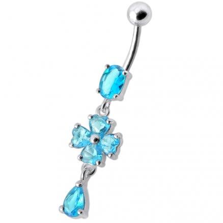 Silver Fancy Pink Stone Flower Dangling Body Jewelry SS Bar Belly Ring