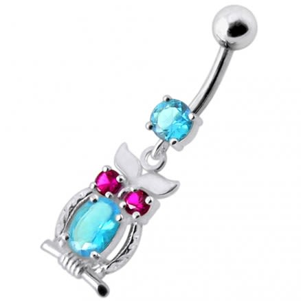 Jeweled Owl Dangling Navel Bar