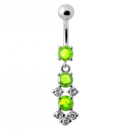 Fancy Jeweled Dangling SS Bar Belly Ring