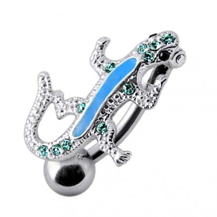 SS Fancy Jeweled Lizard Dangling Navel Ring