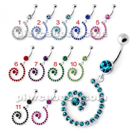 Jeweled Spiral Silver Navel Belly Ring
