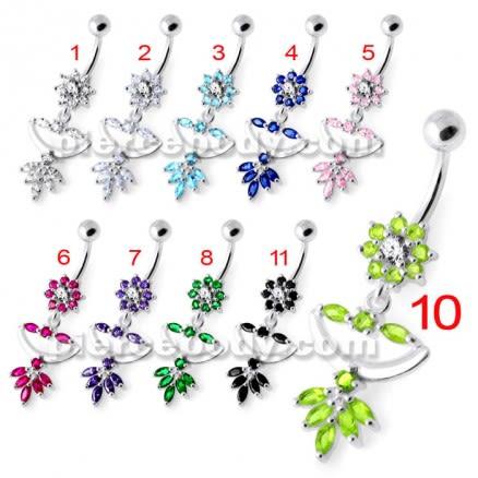 Flower Jeweled Chandelier Navel Ring