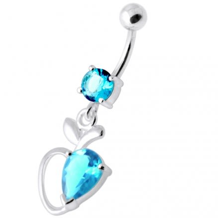Single Jeweled Apple Silver Navel Ring