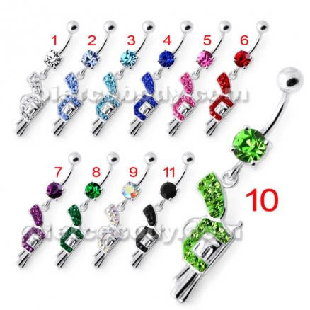 Multi Jeweled Dangling Gun Navel bar