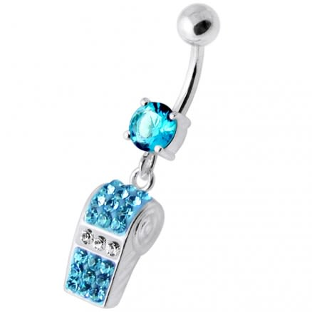 Multi Jeweled Dangling Whistle Navel Belly Bar