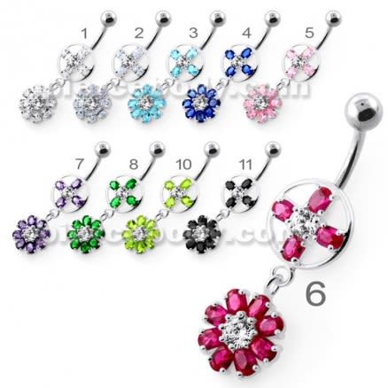 Jeweled Flower Hanging Navel Belly Bar