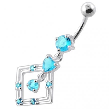 Jeweled Square Frame Navel Belly Ring