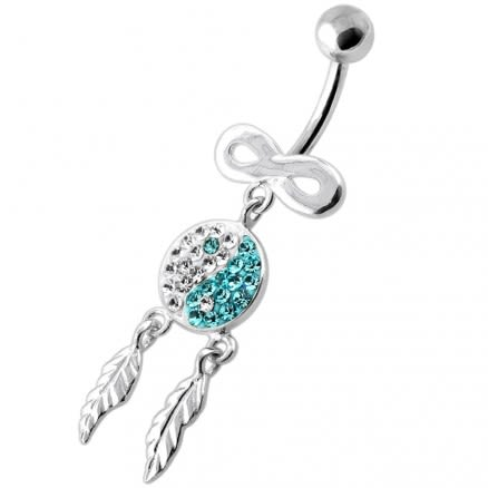 Infinity Ying Yang with Dream Catcher Navel Bar