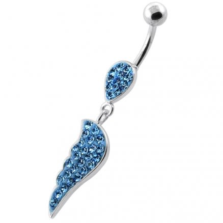 Multi Jeweled Wing sterling silver belly bars