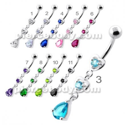 Jeweled Twin Heart belly button jewellery