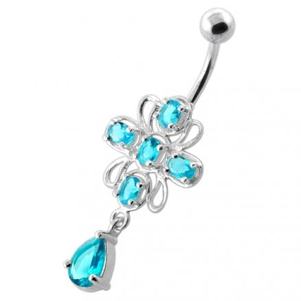 Fancy Jeweled Belly button piercing