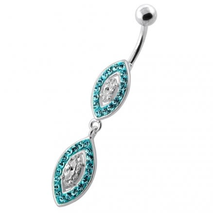 Multi Jeweled Twin Oval belly bar