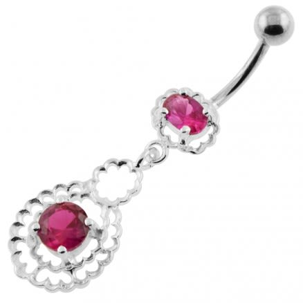 Fancy Jeweled silver belly bars