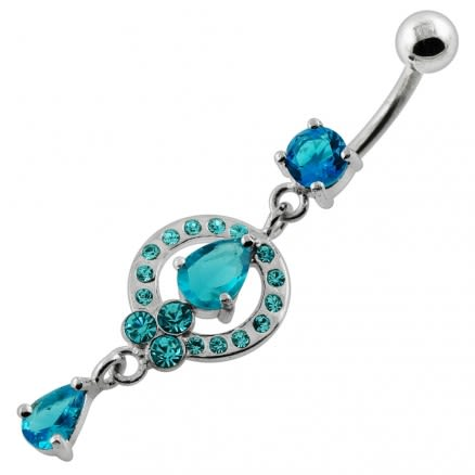 Fancy jeweled Frame Dangling Navel Belly Piercing