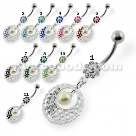 Hanging Pearl in Multi Jeweled Flower Belly Piercing