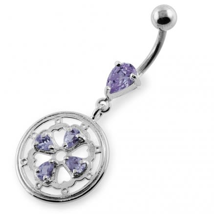 Jeweled Flower and Heart Gear Navel Belly Piercing