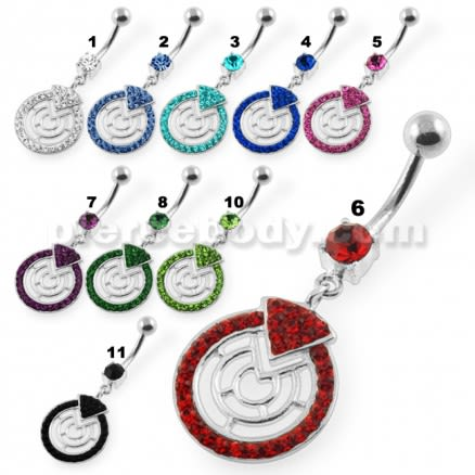 Multi Jeweled Round Maze Navel Belly Button Piercing