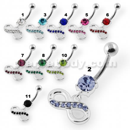 Jeweled Infinity Navel Belly Button Piercing