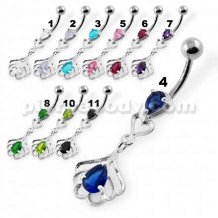 Tear Drop Jeweled Navel Belly Button Piercing