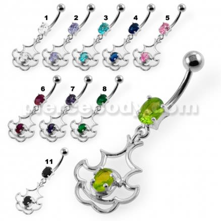 Dangling Single Jeweled Tribal Navel Belly Button Piercing