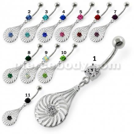 Dangling Jeweled Swirl Flower Navel Belly Button Piercing