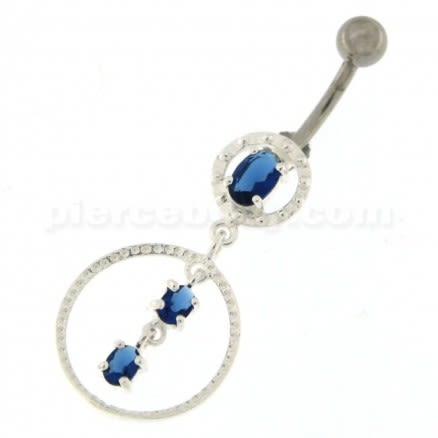 Jeweled Round with Hanging 925 Sterling Silver Belly Ring