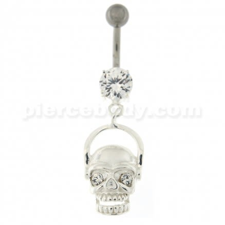 Laughing Skull with Head Phone Dangling Belly Button Ring