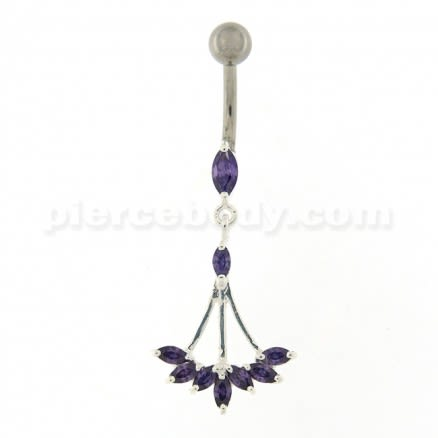 Jeweled Dangling Floral Chandelier Belly Button Ring